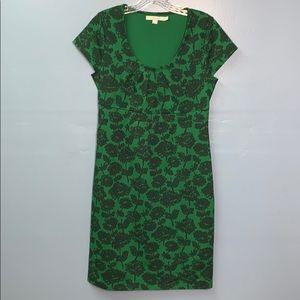 Boden Green Uptown Floral Jersey Cap Sleeve Dress